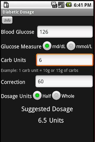 Diabetic Dosage Calculator - screenshot