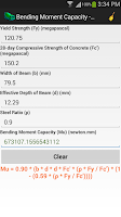 Screenshot of Concrete Engineering Calc.