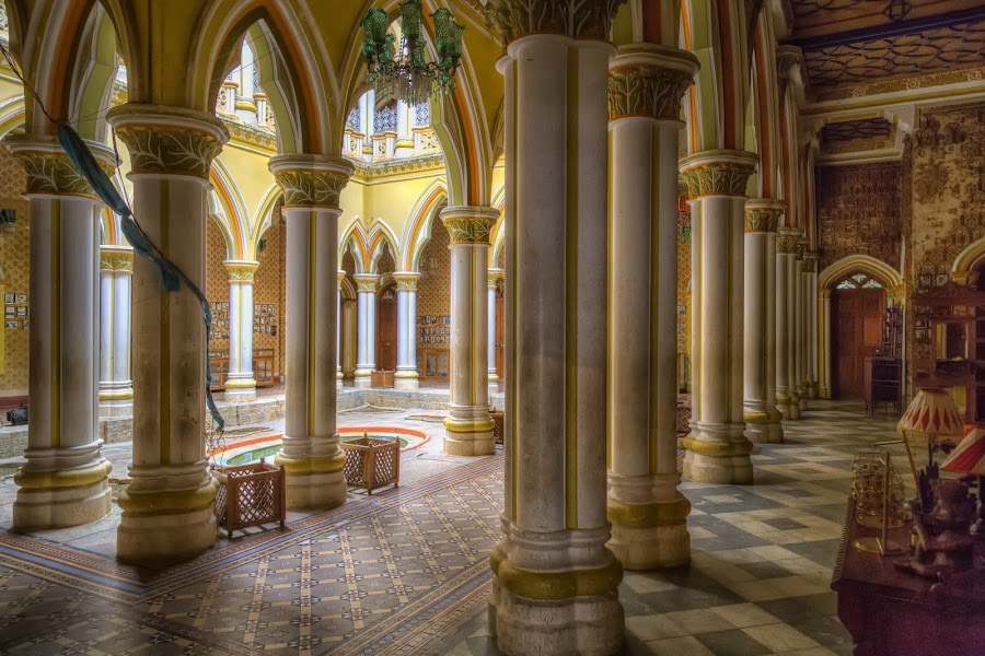 Pillars on the Main Floor at the Bangalore Palace by John Hoey - Buildings & Architecture Public & Historical ( royaty, bangalore, building, hdr, color, asia, india, architecture, travel, palace, tone-mapped,  )