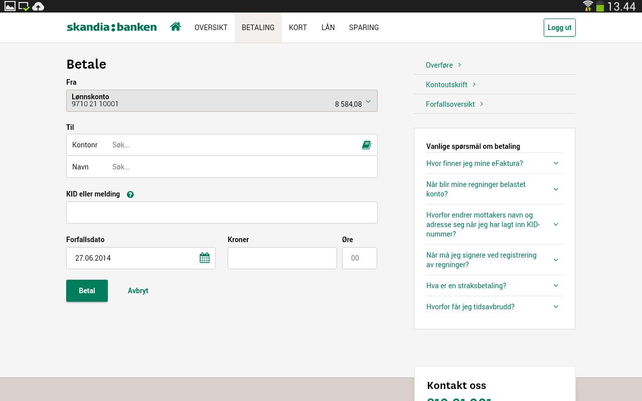 Skandiabanken Mobilbank - screenshot