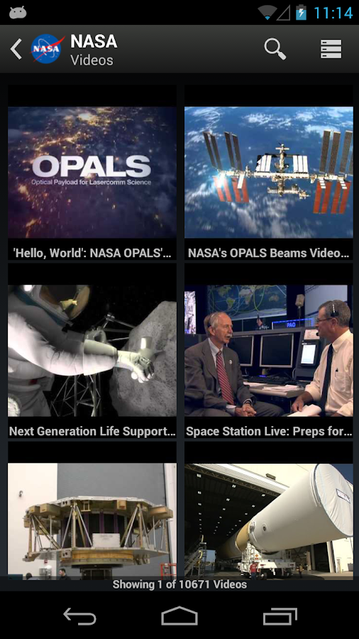 Screenshots of NASA for iPhone