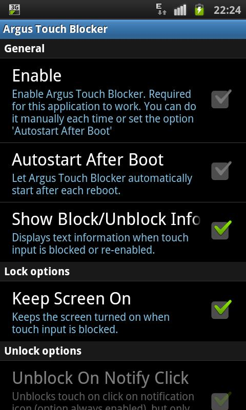 Screen Lock / disable touch - screenshot