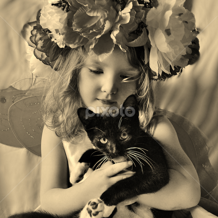 I Love My Kitty B & W by Cheryl Korotky - Black & White Portraits & People ( love of cat, b & w cats, a heartbeat in time photography, children and pets, b & w, portrait, cute cat pictures, child model, girls & cats, amazing faces, beautiful children, child model nevaeh, kittens,  )