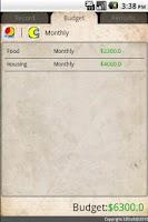Screenshot of Personal Financial Record