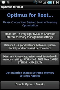 Optimus Root Memory Optimizer - screenshot thumbnail