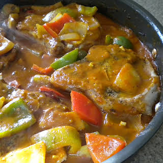 Chunky Pepper and Pork Chop Skillet.