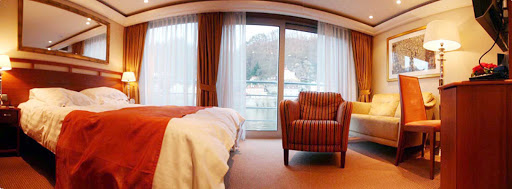 AmaLegro-Stateroom-Suite4 - Tastefully appointed staterooms aboard the 150-passenger AmaLegro offer guests a flat-screen TV, a whirlpool, Internet/wi-fi and more. Standard rooms are 170 square feet, four suites are 255 square feet, and 82 of the rooms come with French balconies.