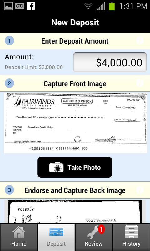FAIRWINDS Business Deposit - screenshot