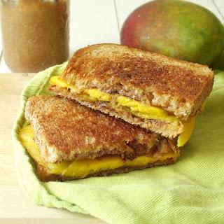 Grilled Almond Butter Mango Sandwich.