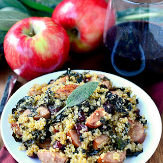 Smoked Sausage, Kale and Cider Quinoa Skillet.