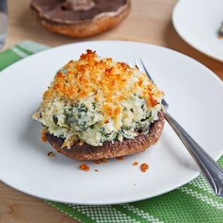 Portobello Mushrooms Stuffed with Spinach and Artichoke Dip.