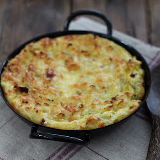Mashed Potato, Leek, and Speck Gratin.