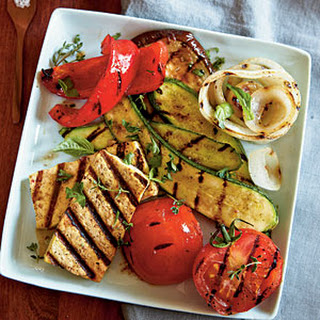 Grilled Tofu with Ratatouille Vegetables.