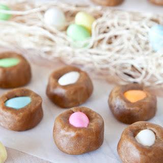 """""""Egg""""-in-a-Nest Stuffed Peanut Butter Cookie Dough Bites (No-Bake, Vegan, Gluten Free)."""