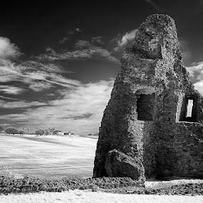 by Christine Ayre - Black & White Landscapes ( ir, essex, ruin, castle )