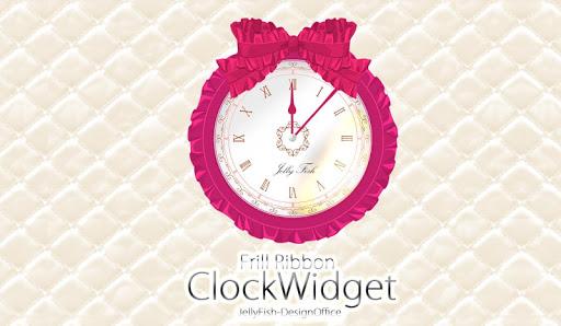 フリルリボンの時計ウィジェット☆ピンク