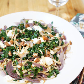 Linguine with Kale & Caramelized Onions.