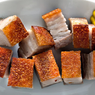 CANTONESE-STYLE ROAST PORK BELLY.