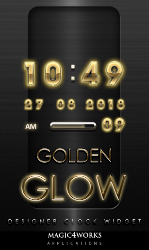 Gold Glow Digital Clock Widget