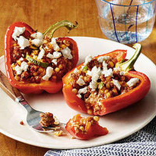 Lamb, Feta & Couscous Stuffed Peppers.