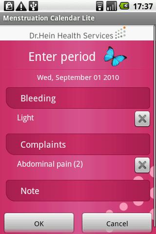 Menstruation Calendar Lite - screenshot