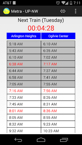 Schedule for Metra - UP-NW