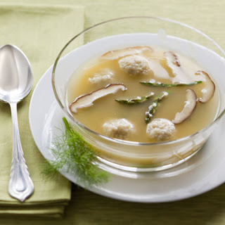 Chicken Soup with Asparagus and Shiitakes, Served with Roasted Fennel Matzoh Balls