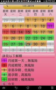 月經與受孕期日曆