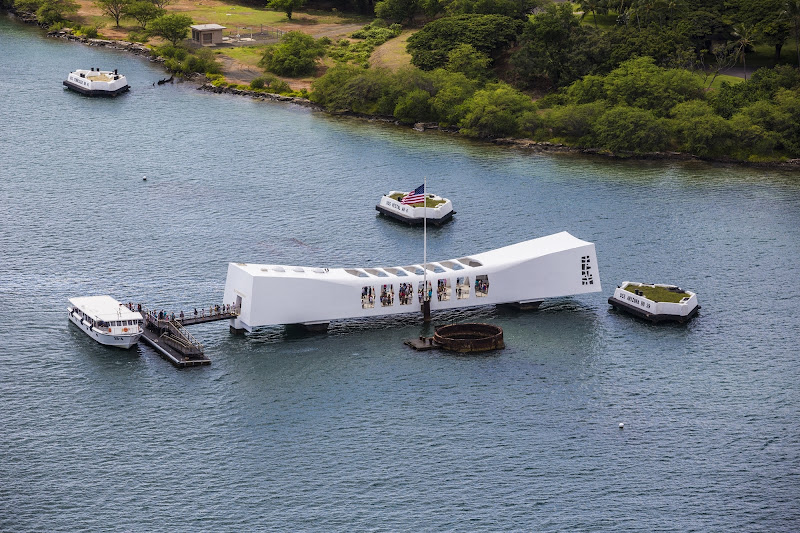 An aerial view of the USS Arizona Memorial, visited by more than 1 million people each year.