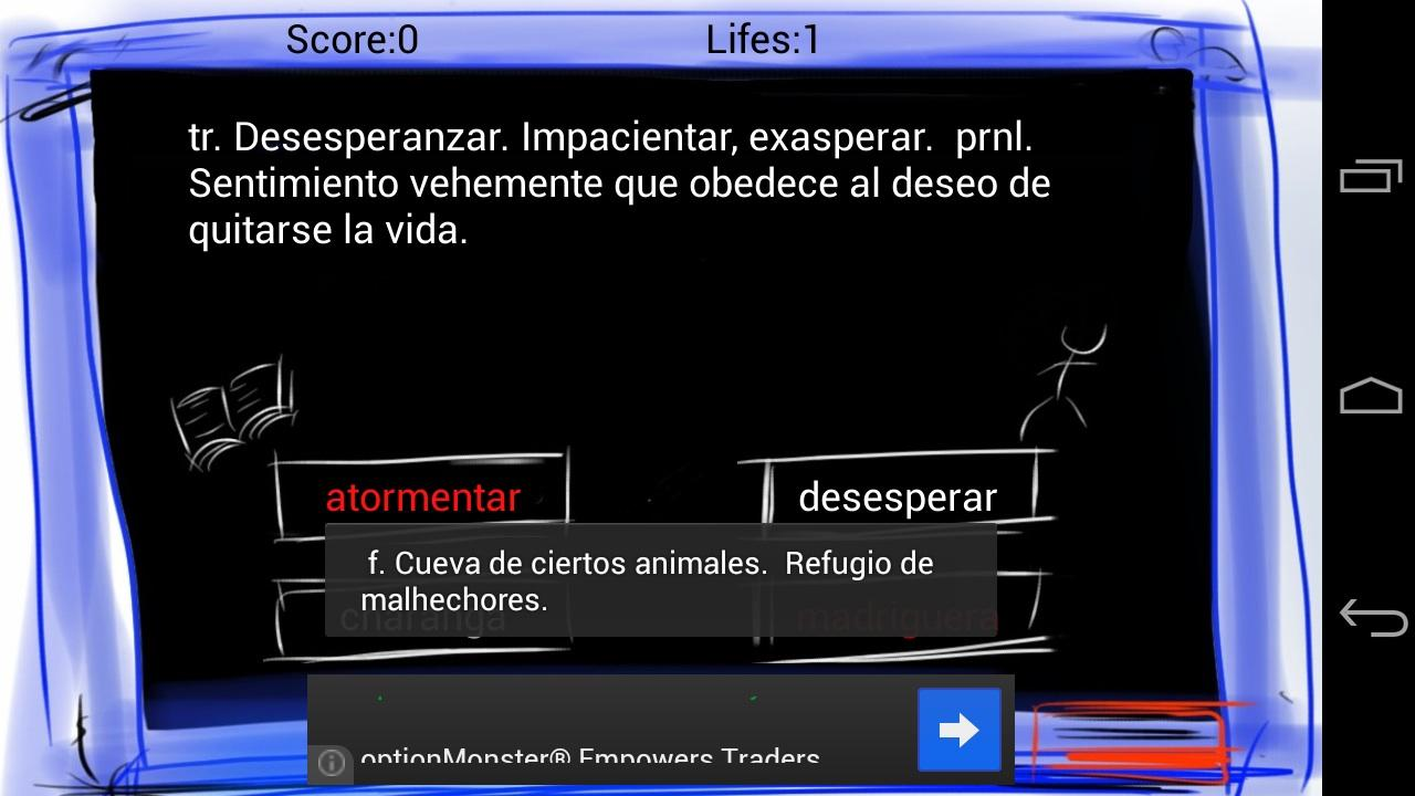 Trivianary, Spanish & English - screenshot