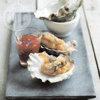 Tempura Oysters with Tomato and Chilli Jam.