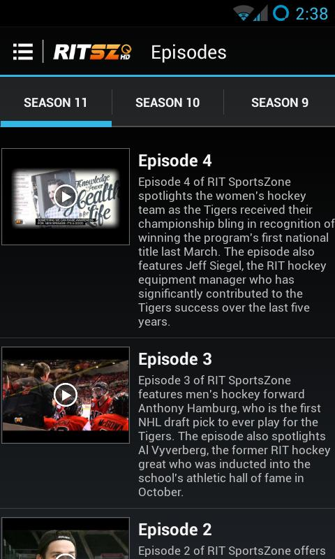 RIT SportsZone- screenshot