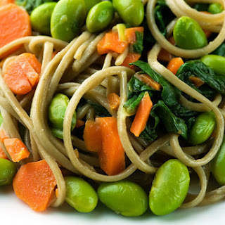 Soba Noodles with Edamame, Carrots and Spinach.
