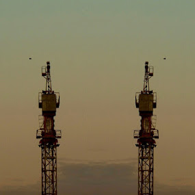 Two Moons by Nat Bolfan-Stosic - Landscapes Starscapes ( moons, yelow, night, evening, city )