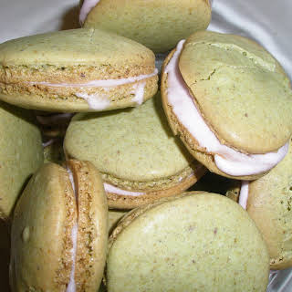 Pistachio Cardamom Macarons with Rosewater Icing.