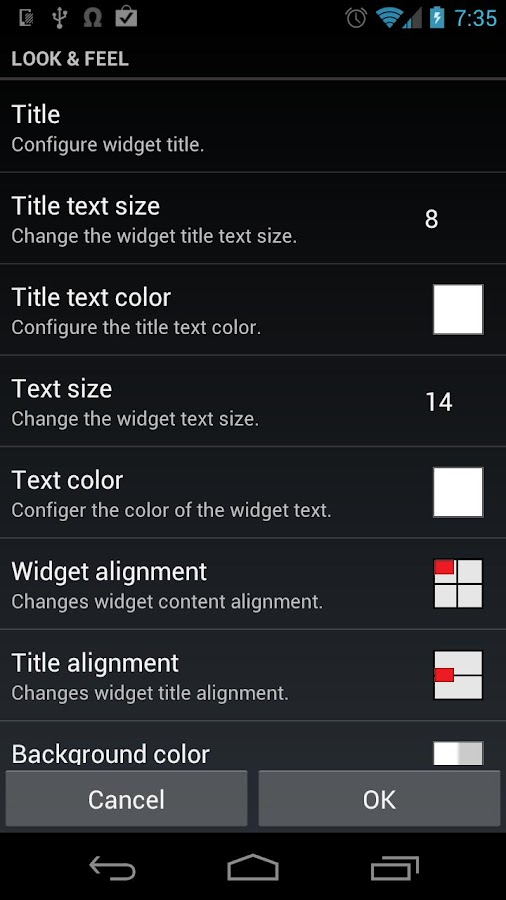Meta Widget Key - screenshot