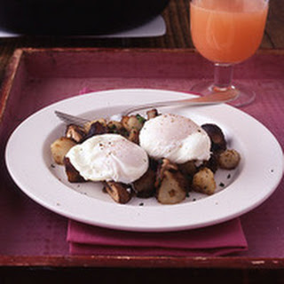 Poached Eggs with Mushroom Home Fries.