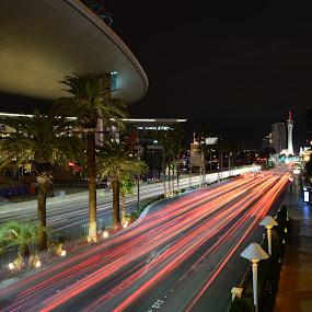 Las Vegas Boulevard North by Scott Thiel - City,  Street & Park  Night ( boulevard, lights, las vegas, nevada, street, light trails, usa, , mood factory, color, lighting, moods, colorful, light, bulbs, mood-lites, city at night, street at night, park at night, nightlife, night life, nighttime in the city )
