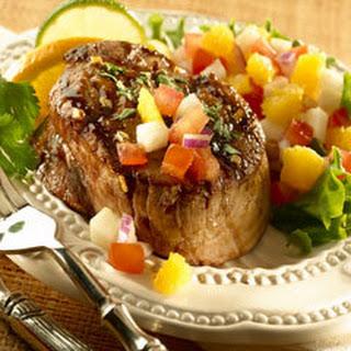 Seared Steaks With Jicama Salsa.