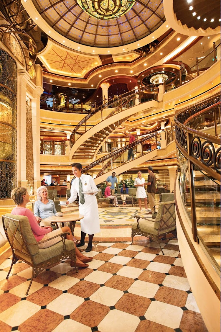 You'll find an elegant piazza-style atrium where you can lounge, shop and dine on your Princess cruise.