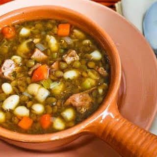 Cannellini Bean and Lentil Stew with Ham.