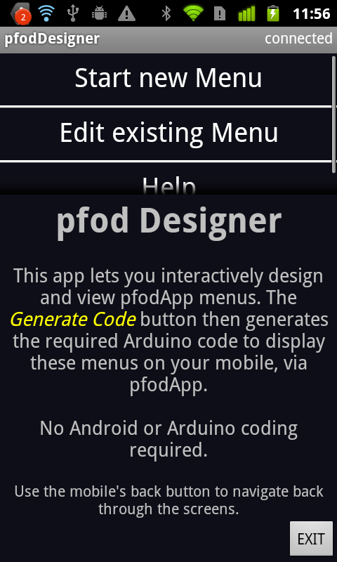 pfodDesigner for pfodApp- screenshot
