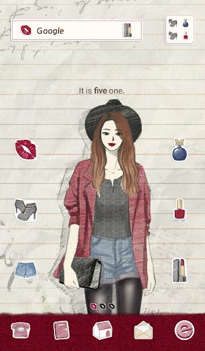 【免費個人化App】피피노트(버건디) 도돌런처 테마-APP點子