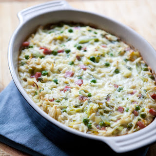 Creamy Baked Orzo with Ham, Peas and Leeks.