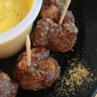 Superbowl Snacks: Bacon Meatballs with Mango Honey Mustard Sauce