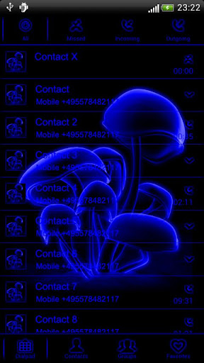 Blue neon GO Contact theme