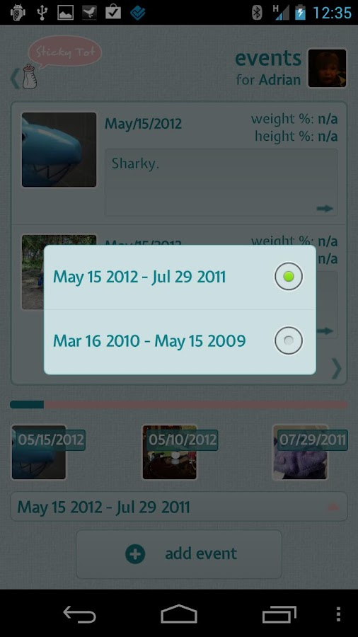 StickyTot- screenshot