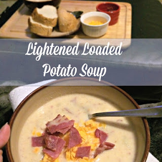 Lightened Loaded Potato Soup for #SundaySupper