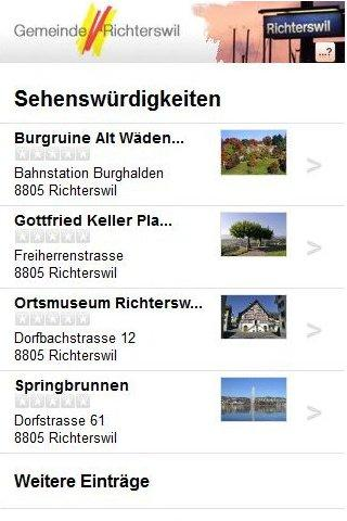 Cityguide Richterswil - screenshot