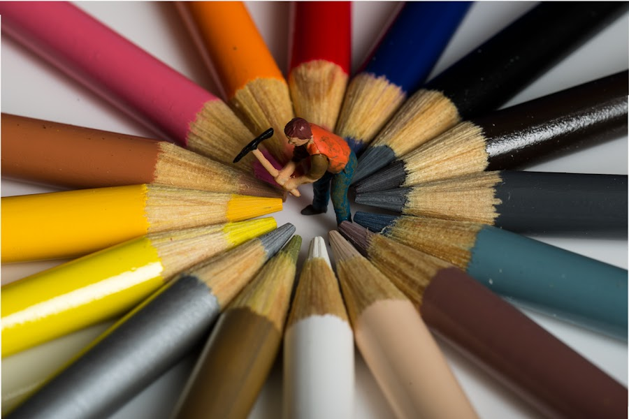 Carving out the Colors by Michael Holser - Artistic Objects Education Objects ( colors, carving, ax, pencils,  )